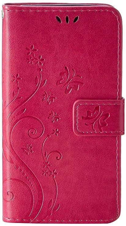 MAXFE.CO Leder Case für Samsung Galaxy A3 (2016 ) Hülle PU Schutz Etui Schale Rose rot Back Flip Wallet mit Standfunktion Kar