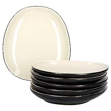 Speisetellerset Steingut glasiert Farbe:Creme-schwarz gro/ße Men/ü-Teller| edle Geschirr-Kollektion Van Well Elements 6-TLG