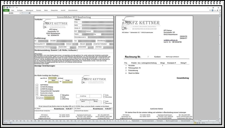 Elektronischer digitaler KFZ Handel Kaufvertrag Gebrauchtwagen gewerblich oder privat Software mit Rechnungsformular ohne und mit MwSt und weiteren Formularen