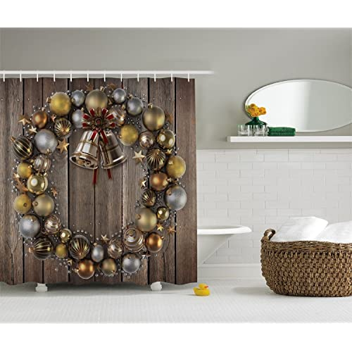 Ambesonne Holiday Christmas Gold Silver Wreath Fabric Digital Shower Curtain