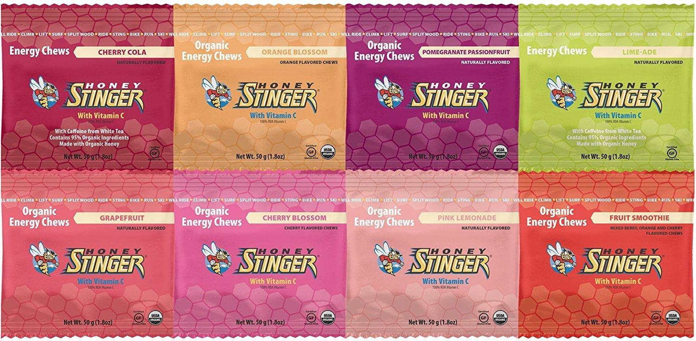 Honey Stinger Organic Energy Chews (8 Count) - Cherry Cola, Orange Blossom, Pomegranate Passion, Limeade, Grapefruit, Cherry Blossom, Pink Lemonade, and Fruit Smoothie - 1.8 oz Package Each