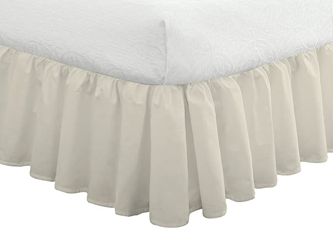 Fresh Ideas Bedding Ruffled Bedskirt Classic 14 Drop Length Gathered Styling Queen Ivory Home Kitchen