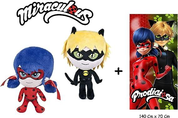 LB Miraculous - Ladybug - Set de 2 Peluches Lady bug y Cat noir 27Cm/10 Calidad Soft + Toalla de playa 140x70 Cm 100% Algodón: Amazon.es: Juguetes y juegos