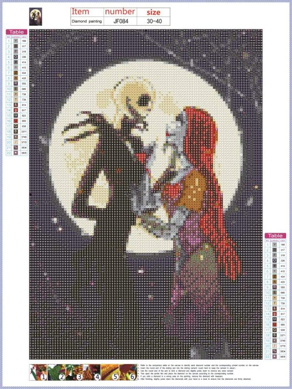 30 x 40 cm para decoraci/ón del hogar 5D diy pintura diamante cuadrado bricolaje pintura por n/úmeros lienzo cuadro de punto de cruz halloween querido square diamonds manualidades de cruz