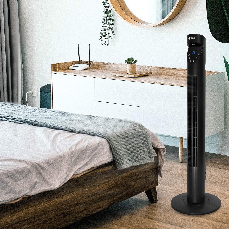 Oscilaci/ón de 70/° 50W Color Negro 3 Velocidades Gotoll Ventilador de Torre de Altura 93,6cm con Control Remoto Temporizador de 12H 3 Modo de Viento