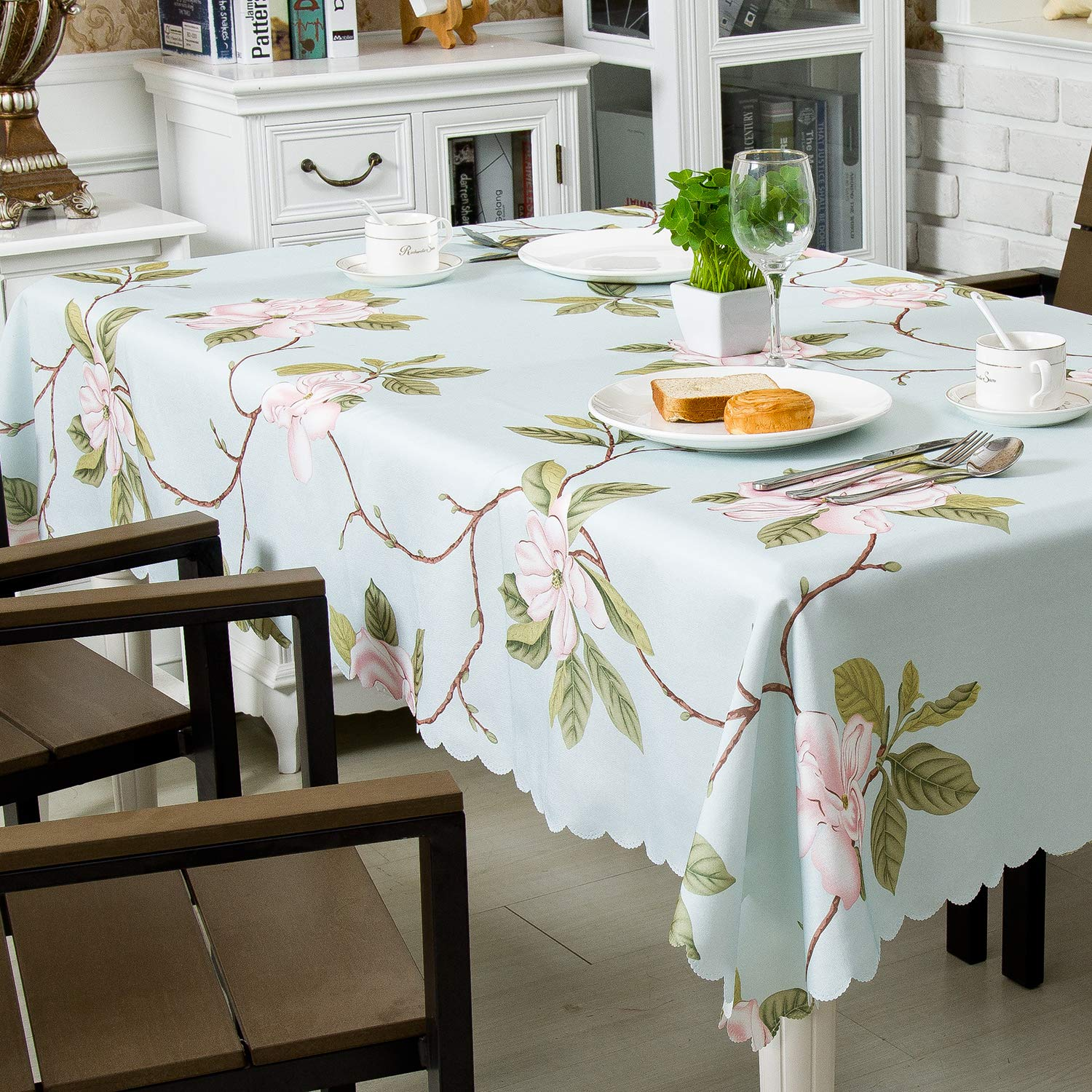 """Hewaba Rectangle Printed Tablecloth - (60"""" x 104"""") Polyester Fabric Washable Table Cover, Seats 8-10 People, Wrinkle Free, Oil-Proof/Waterproof Tabletop Protector for Kitchen Dinning Party - Rose"""