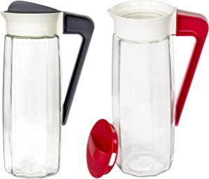 Red Co. Set of 2 Vintage Inspired 54 Oz Glass Pitcher with Twist-Close Lid and Handle, Hot Cold Water Jug, Juice and Iced Tea Beverage Carafe
