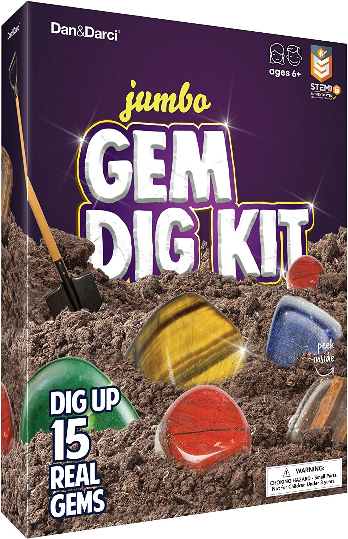 Mega Gemas Kit de Cavar: Desentierre 15 Piedras Preciosas Verdaderas | Gran Ciencia, Gemología, Regalo Minero, Niños, Niñas | Rocas, Minerales, Juguetes de Excavación