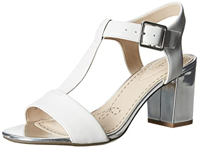 Clarks Smart Deva, Women's Ankle Strap Sandals, White (White/Silver Leather)
