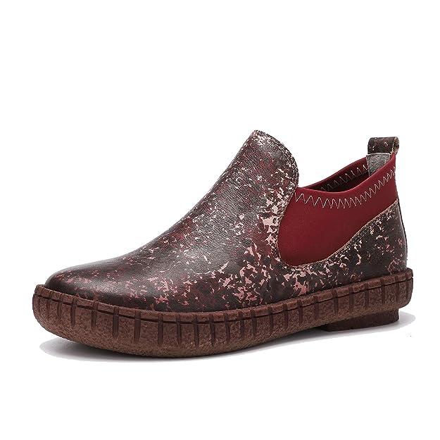 Botas de Mujer en Cuero Genuino otoño e Invierno Mocasines Vintage con Botines Planos Cómodo Calzado Casual en Piel de Vaca: Amazon.es: Zapatos y ...