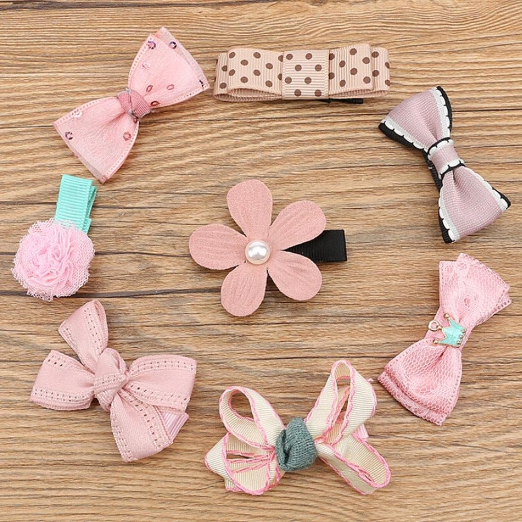Zerototens Hair Bows for Girls Baby Hair Clips for Infant Boutique Hair Accessories Kids Hairpin Bowknot Flowers motifs Hair Clip Set 8Pcs