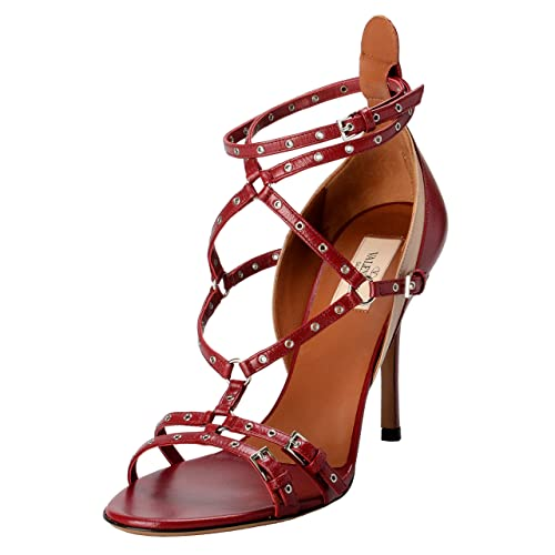5259c2a3540 Valentino Garavani Women s Leather Strappy Two Tones High Heels Open Toe  Shoes US 8 IT 39