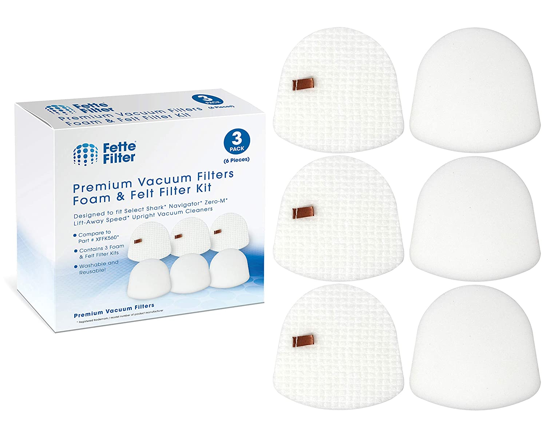 Fette Filter – Vacuum Filter Kit Compatible with Shark Navigator Zero-M Lift-Away Speed Upright Vacuum ZU560, ZU560C, ZU561, ZU562. Compare to # XFFK560. (3 Foam & 3 Felt Filter)
