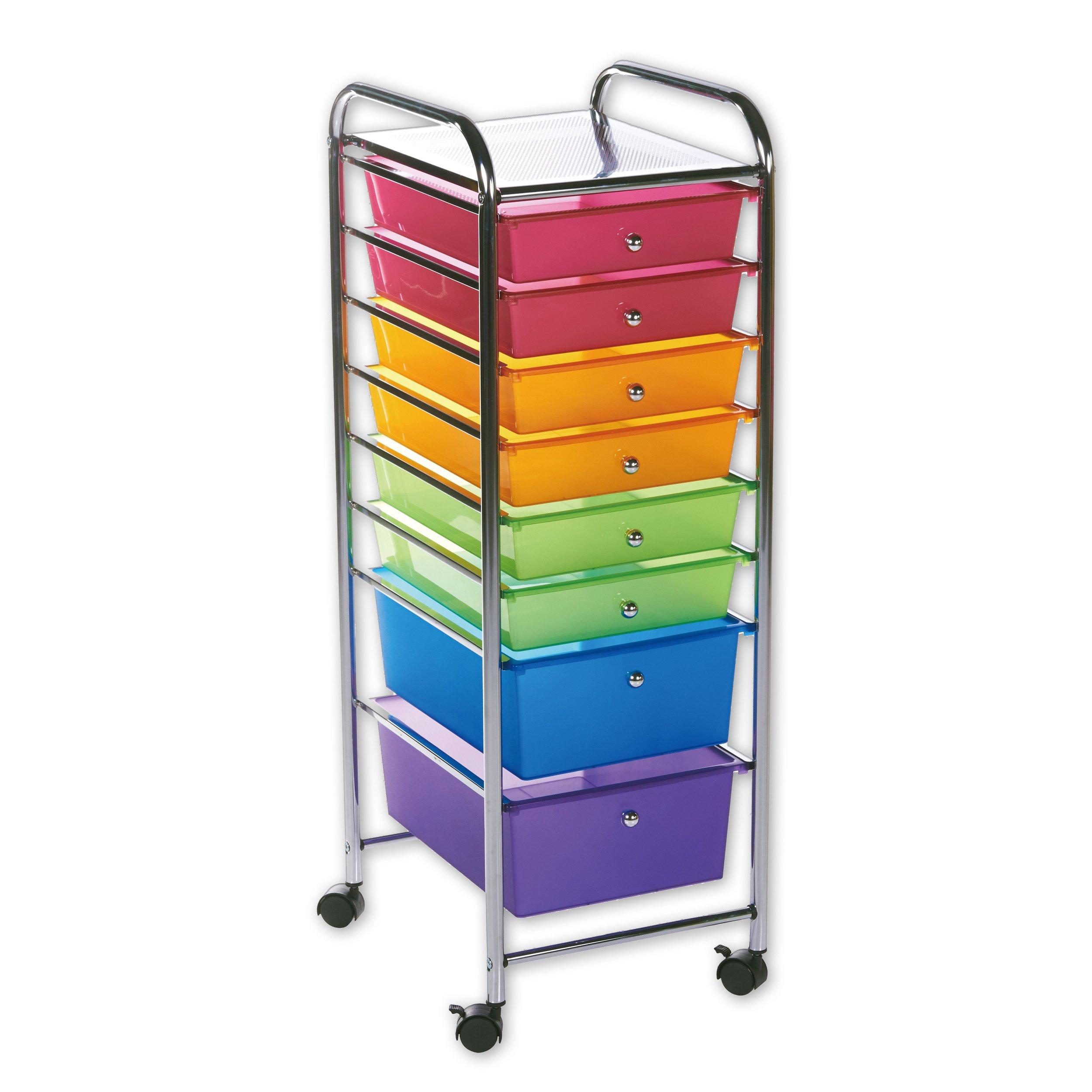 Rod Desyne 8 Drawer Rolling Storage Cart, Satin Nickel by Rod Desyne