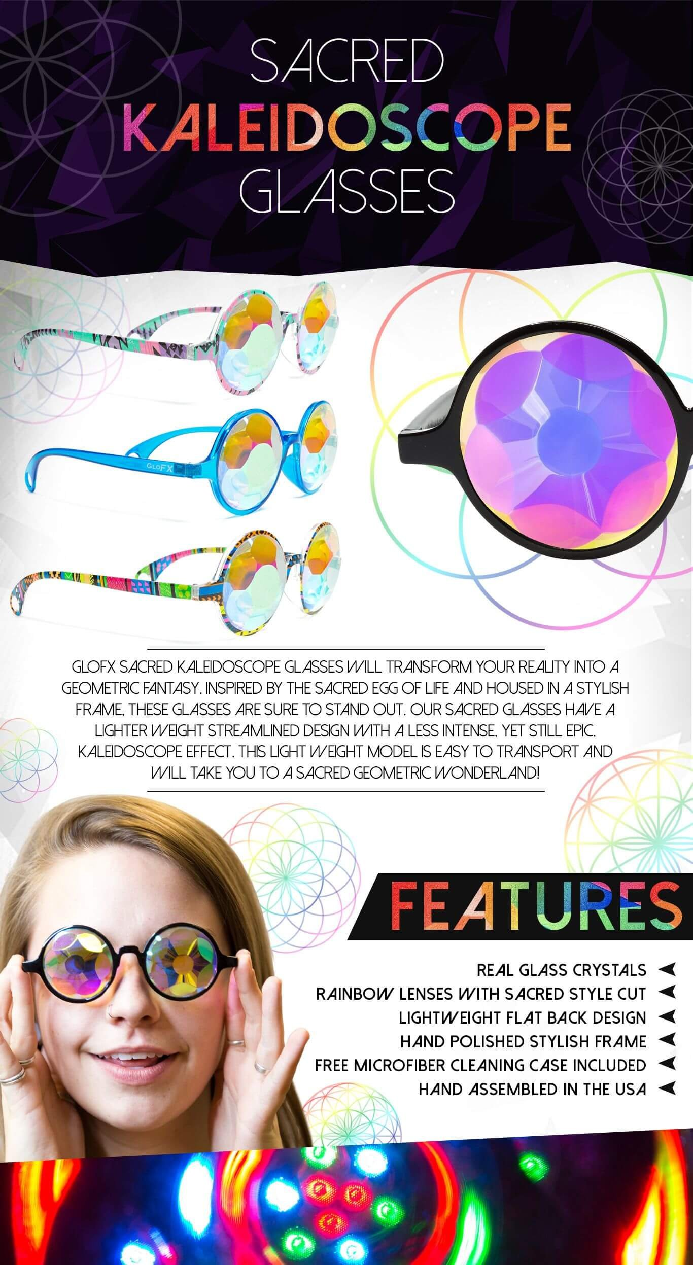 GloFX Black Sacred Kaleidoscope Glasses - Rainbow Sacred Geometry Rave Prism Diffraction Festival by GloFX (Image #6)