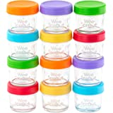 WeeSprout Glass Baby Food Storage Containers | 12 Set | 4 oz Baby Food Jars with Lids | Freezer Storage | Reusable Small Glas