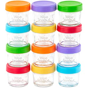 WeeSprout Glass Baby Food Storage Containers | 12 Set | 4 oz Baby Food Jars with Lids | Freezer Storage | Reusable Small Glass Baby Food Containers | Microwave/Dishwasher Friendly | for Infants/Babies