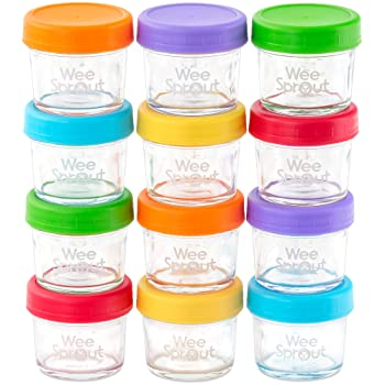 WeeSprout Glass Baby Food Freezer Containers