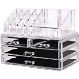 Makeup and Jewelry Organizer - 2 Piece Set - Removable Smooth Sliding, Removable Black Mesh Pudding & Non-Slip Rubber - By Utopia Home