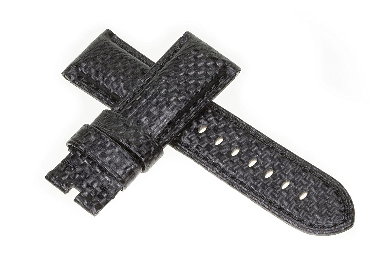 26 mmカーボンファイバーストラップブラックDeployment時計バンドブラックステッチMade for Panerai byヴィンテージG  B079QXX4H5