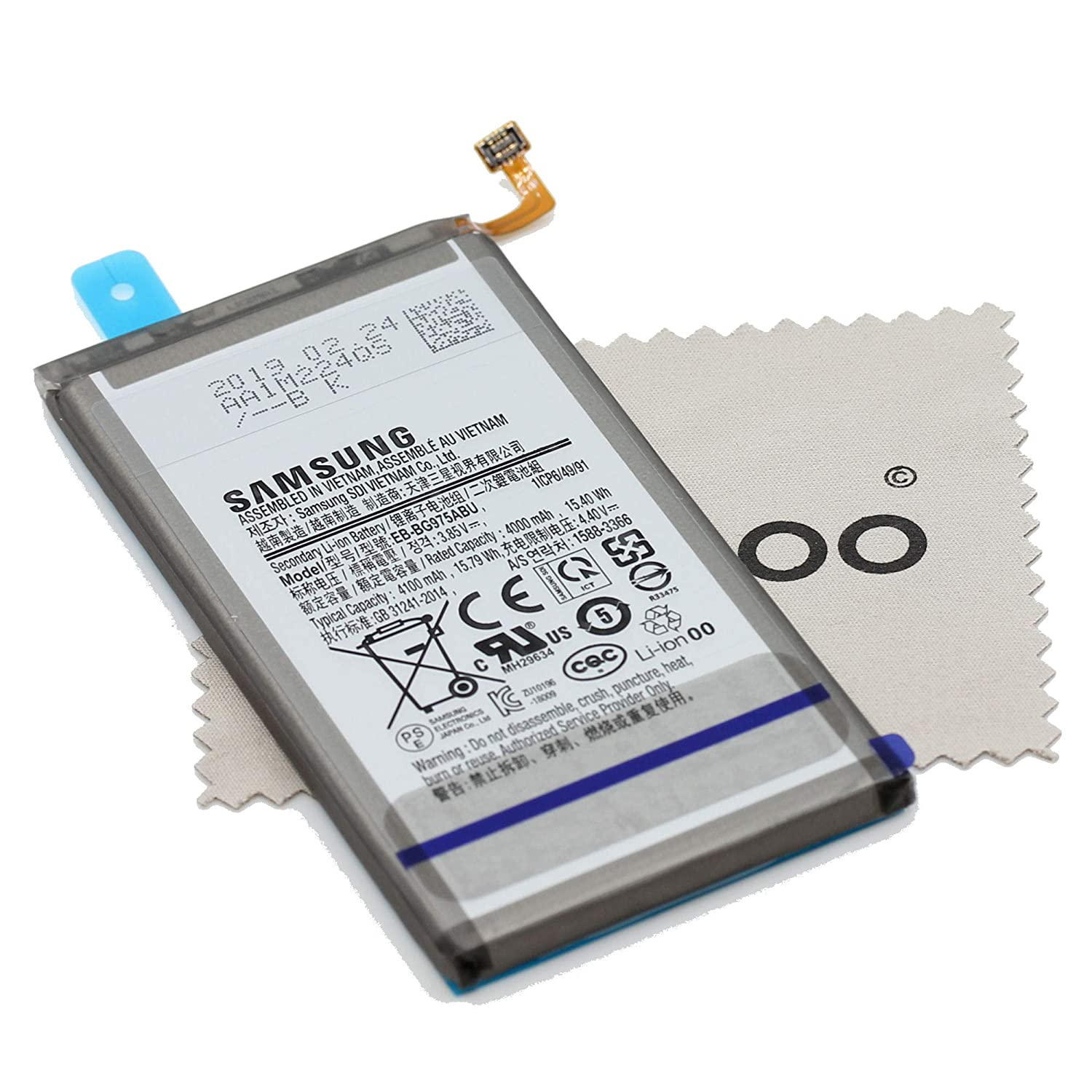 G975F S10+ with Mungoo Screen Cleaning Cloth Battery for Samsung Original EB-BG975ABU for Samsung Galaxy S10 Plus