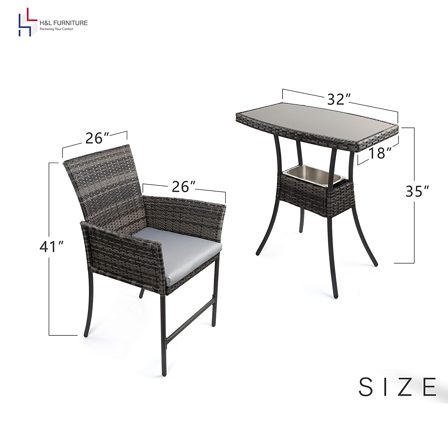 HL Patio Outdoor 3PCS Wicker Bistro Bar Set with Ice Bucket Gray PE Rattan Furniture – Two Chairs with Tempered Glass Coffee Table Gray Cushion ,1 Year Warranty