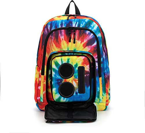 Bluetooth Speaker Backpack with 20-Watt Speakers Subwoofer for Parties Festivals Beach School. Rechargeable, Works with iPhone Android Tie Dye, 2019 Edition