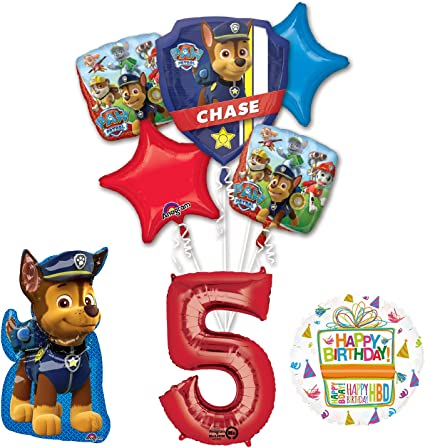 boys 5th birthday party pack giant big badge banner balloons candle I am 5 today