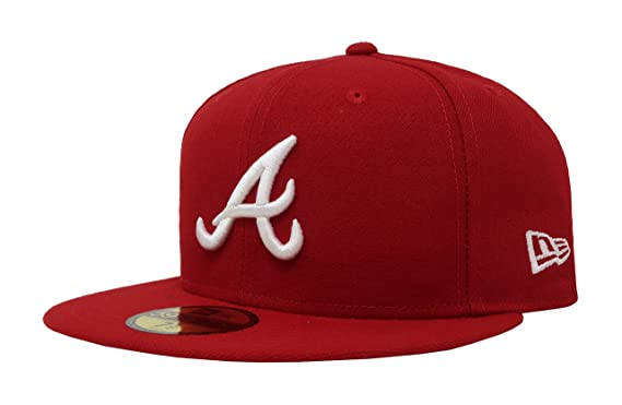 ea80d662f45 New Era 59Fifty MLB Basic Atlanta Braves Fitted Scarlet Red Headwear Cap (6  7