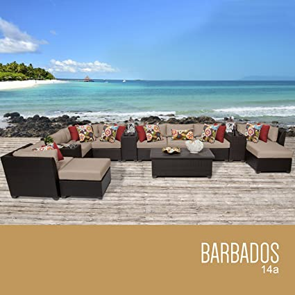 TK Classics 14 Piece Barbados Outdoor Wicker Patio Furniture Set, Wheat