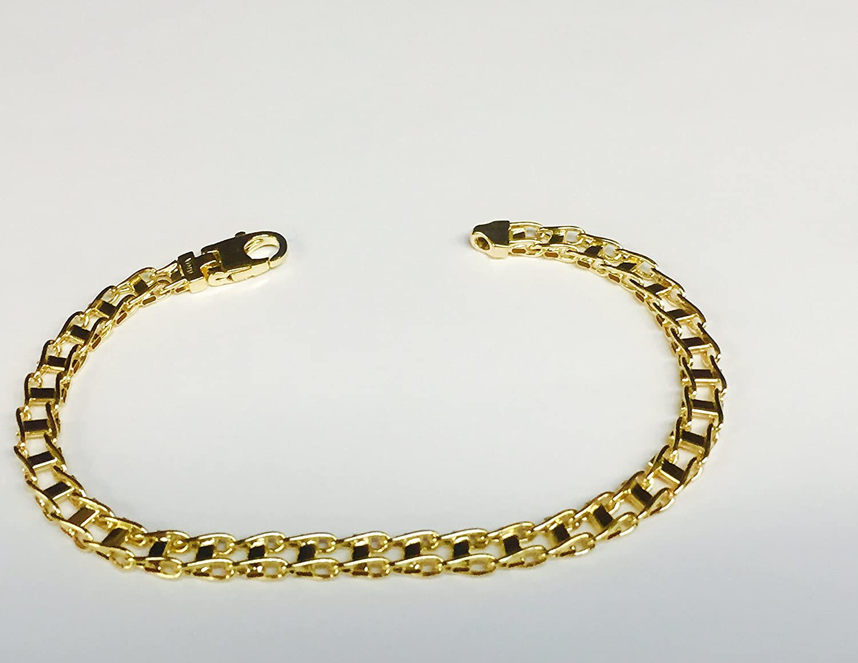 14k Solid Yellow Gold Men Fashion Railroad Link chain//Bracelet 8.5 5mm 7 grams RoyalCahin JBM7548-0850