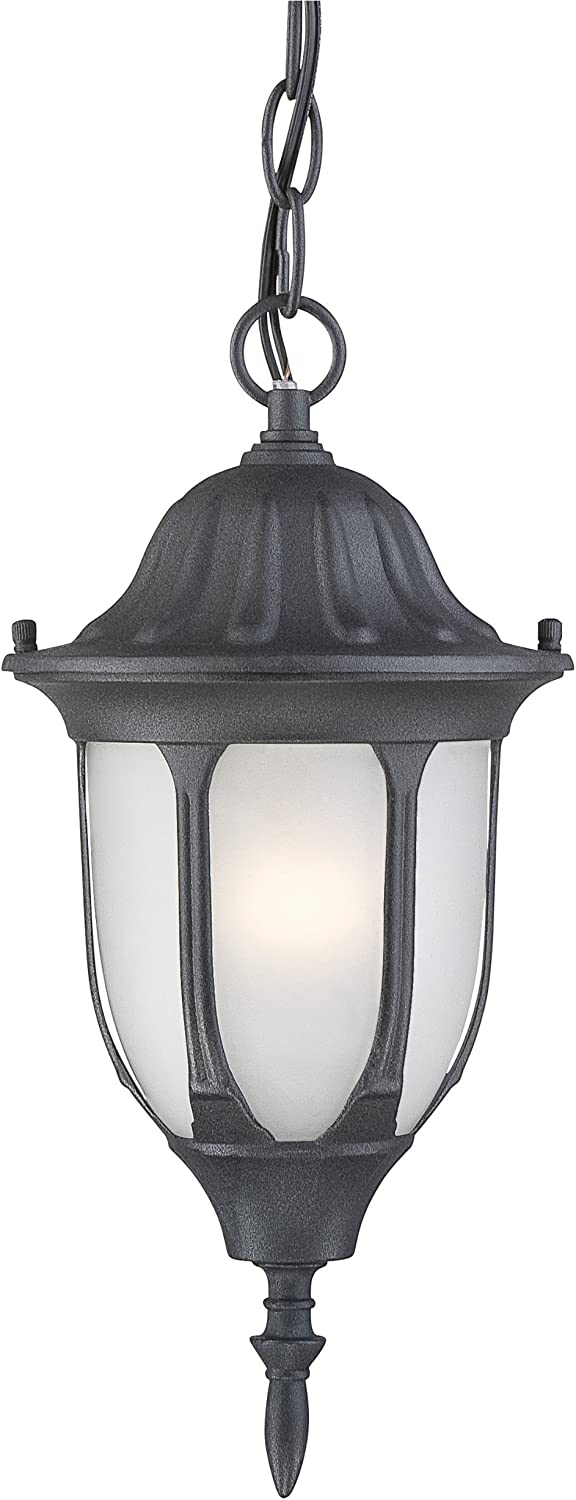 Textured Black Finish on Cast Aluminum with Frosted Glass Panels Westinghouse 6682100 1-Light Exterior Pendant