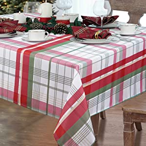 """Christmas Tablecloth, Buffalo Plaid Table Cloth, Red and Green Tartan Tablecloths, Xmas Waterproof Tablecloth Square for New Year Winter Dining Party Home Decorations, 55"""" x 55"""""""