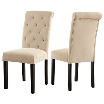 LSSBOUGHT Stylish Dining Room Chairs With Solid Wood Legs Set Of 2 Beige
