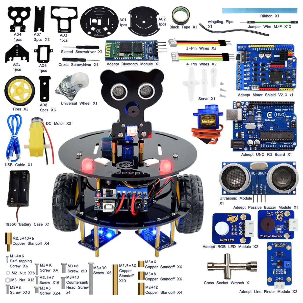 Adeept 3wd Bluetooth Smart Robot Car Kit For Arduino Uno Remote Controlled Toy Circuit With Transceiver Module R3 Wireless Control Starter Robotics Model