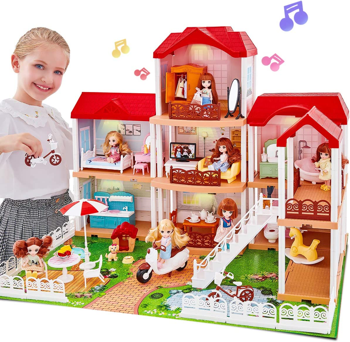 UNIH Doll House Dream House with 2 Dolls, Dollhouse Accessories and Furniture House Playset Gift for Toddler Girls Kids Age 3 4 5 Year Old