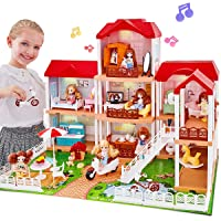 UNIH Dollhouse Dream House with 2 Dolls, Doll Accessories and Furniture House Playset Gift for Toddler Girls Kids Age 3 4 5 Year Old