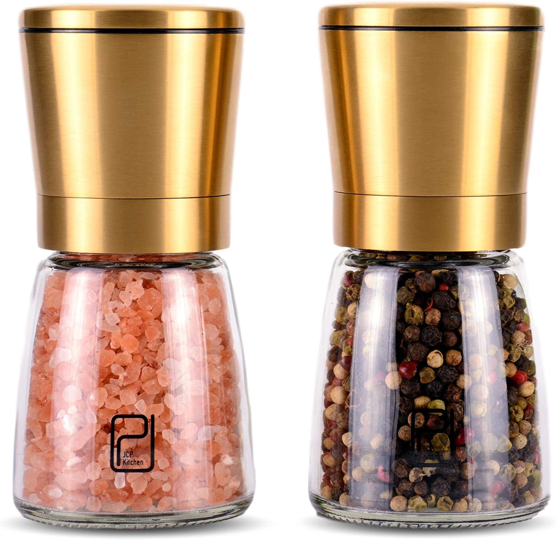 JCPKitchen Gold Salt and Pepper Grinder Set - Golden Salt and Pepper Shaker Mill - Brass Pepper Grinders Refillable - Adjustable Coarseness - Sea Salt, Black Peppercorn
