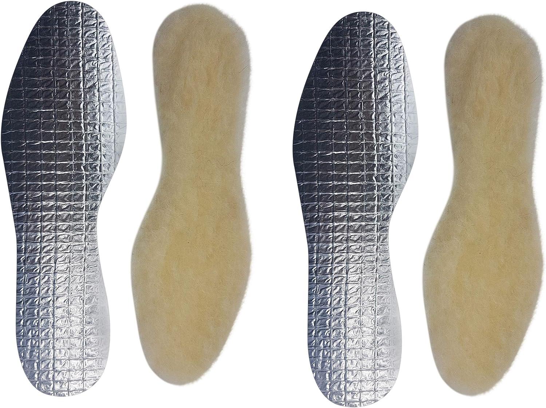 2 paar echte warme kuschelige Lammwoll Alu Einlegesohle-n I Made in Germany I Creme Damen Herren Gr.36-48