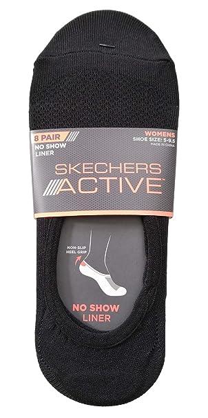 7a27dc2ff50 Skechers Women's No Show Liner Socks 8 Pairs Black White Grey