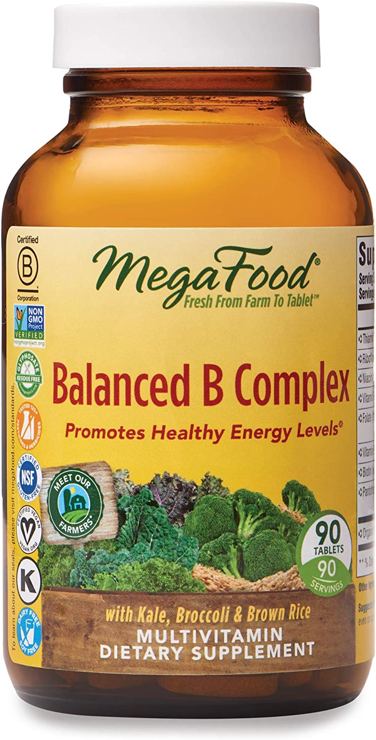 MegaFood, Balanced B Complex, Promotes Healthy Energy Levels, Multivitamin Dietary Supplement, Gluten Free, Vegan, 90 Tablets (90 Servings): Health & Personal Care