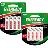 Eveready Rechargeable AA Battery, 08 Pieces Pack, White  1000 Series, BP4 700 NIMH