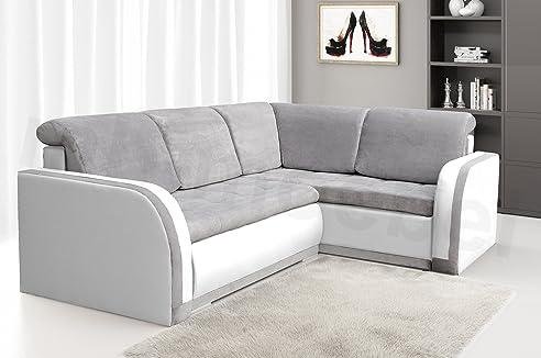 Ecksofa hellgrau weiß  Ecksofa Sofa Eckcouch Couch mit Schlaffunktion und Bettkasten ...