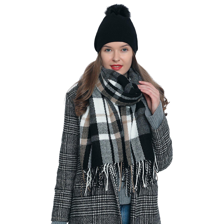 DonDon Grande Écharpe douce à carreaux pour femme Oversize 185 x 65 cm  SCH123 8aead85cacd