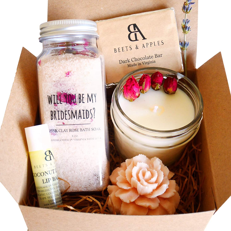 Amazon Com Bridesmaid Proposal Gifts Bridesmaid Proposal Gifts Sets Will You Be My Bridesmaid Gift Rose Spa Basket Ask Bridesmaid Box Handmade