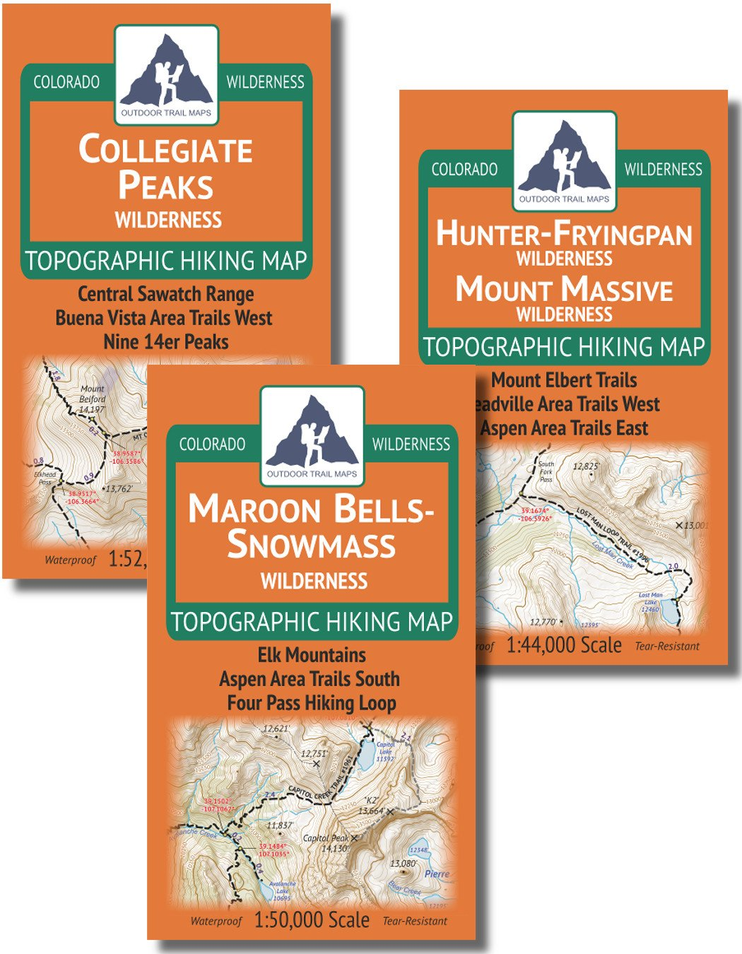 Aspen Area Hiking Map Pack: Maroon Bells-Snowmass, Hunter-Fryingpan, Mount Massive, Collegiate Peaks