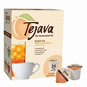 Tejava Unsweetened Black Tea Pods with Natural Peach Flavor, Award-Winning Tea, 100% Recyclable Single Serve Cups | Keurig K-Cup Compatible (24 Count)