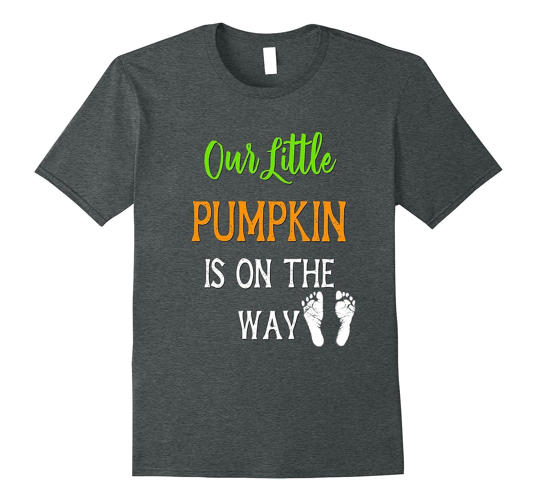 Pregnant Mom Halloween Shirt Our Little Pumpkin On The Way-Art