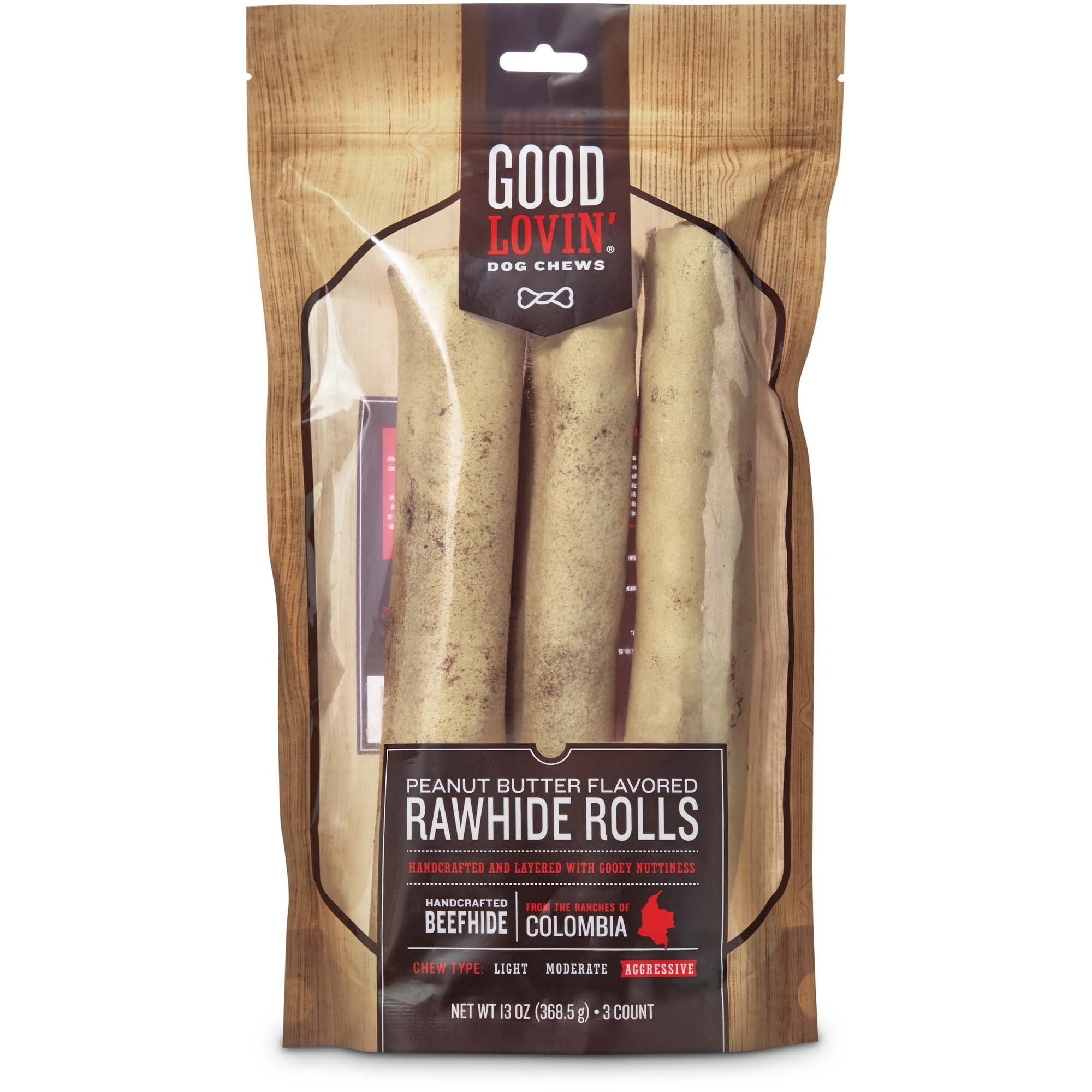 Good Lovin' Peanut Butter Flavored Rawhide Roll Dog Chews, 10-inch, Pack of 3, 13 OZ