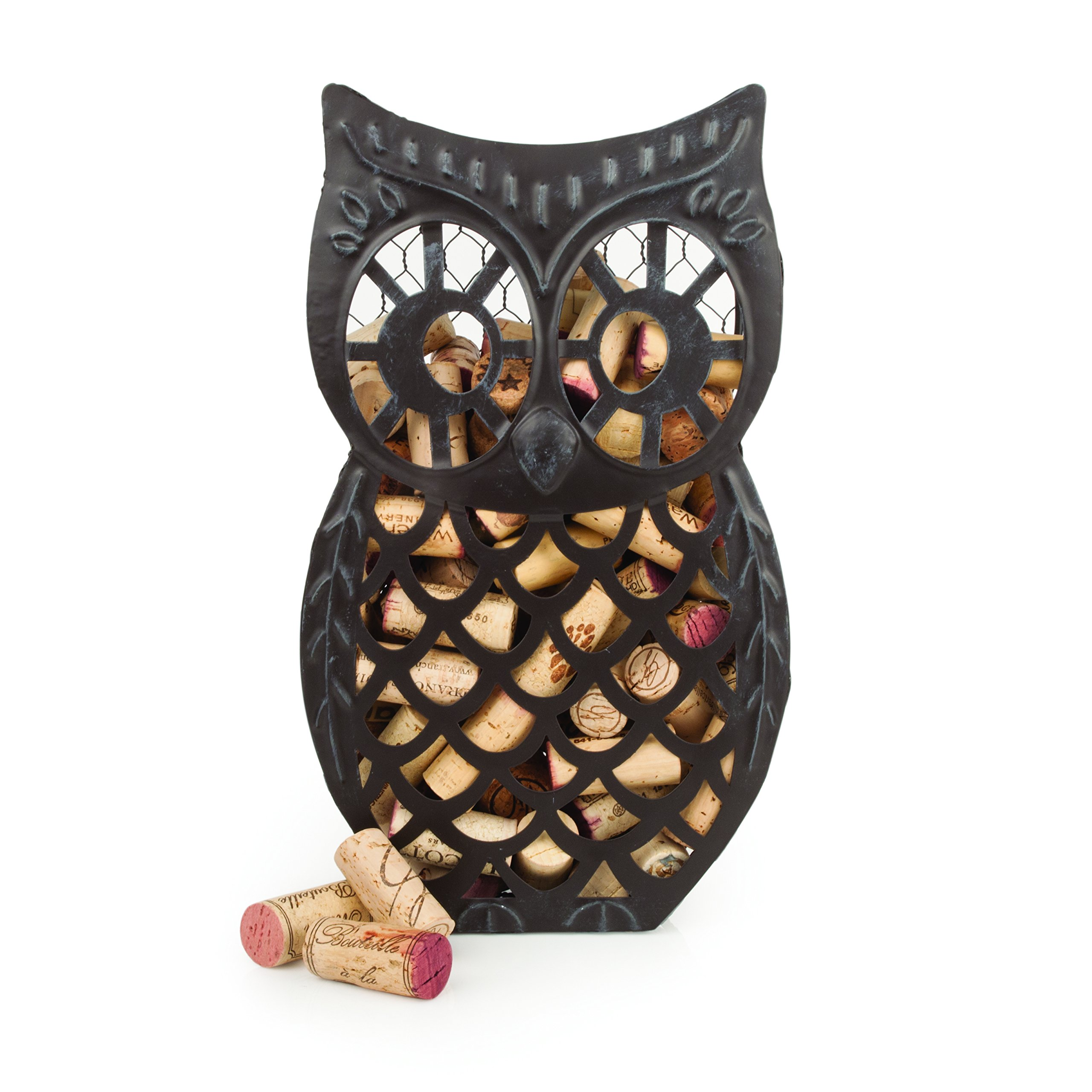 Country Cottage Wise Owl Distressed Metal Cork Collector by Twine